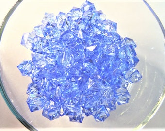 10mm 50CT or 12mm 30CT. SkyBlue Faceted Acrylic Beads, Transparent Beads, B29
