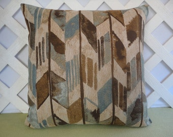 Geometric Pillow Cover in Blue Brown Beige / Blue Brown Pillow / Accent Pillow / Decorative Pillow / 18 x 18 Pillow