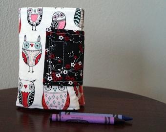 Crayon Wallet - Owls - Pink, Aqua, Black - Crayon Holder - Crayon Roll - Back to School - Birthday Gift - Christmas Stocking Stuffer