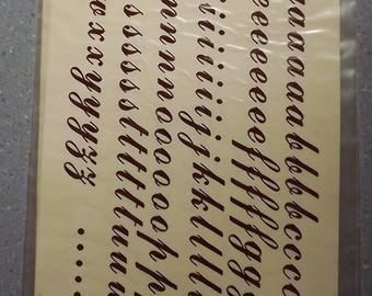 Vintage Water Mount Decals - Cursive Lower Case Letters - GOLD - 2 Identical Sheets of Decals