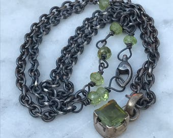 Peridot Pendant Necklace - Oxidized Sterling Silver Necklace - Raw  Artisan - Urban Sundance Style Jewelry