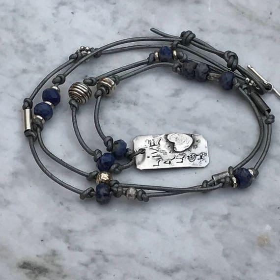 Live - Laugh - Love Pendant Necklace - Sterling Silver - Gemstone - Fine Silver - Raw silver - Rustic boho Sundance Style