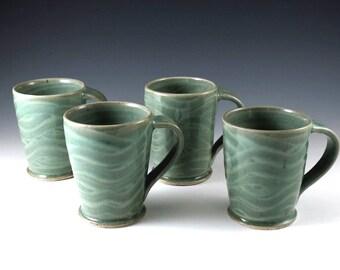 Pottery Coffee Mugs, Ceramic Mug Set, Ceramic Mug, Light Green, Pottery Mugs, Tea Cups, Stoneware Mugs, Handmade Mugs, Ceramics and Pottery