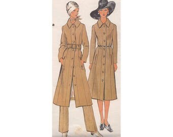 Vintage 1970s Vogue Sewing Pattern 7919 Elegant Midi Length Coat and Straight Leg Pants Size 10 Bust 32.5 Princess Seams Pockets