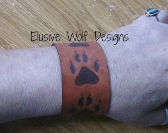 Wolf Paw Print Cuff Bracelet - Leather Wolf Cuff - Branded Wolf Cuff - Wolf Cuff Bracelet - Wolf Jewelry - Elusive Wolf