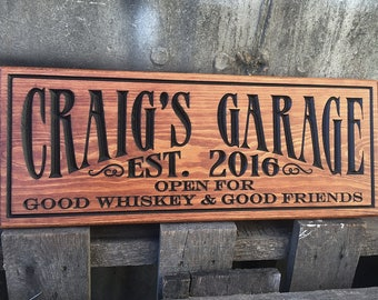 Garage mancave sign - Personalized garage decor - Rustic vintage style sign - Custom sign - Man cave gift for him - Groomsman gift