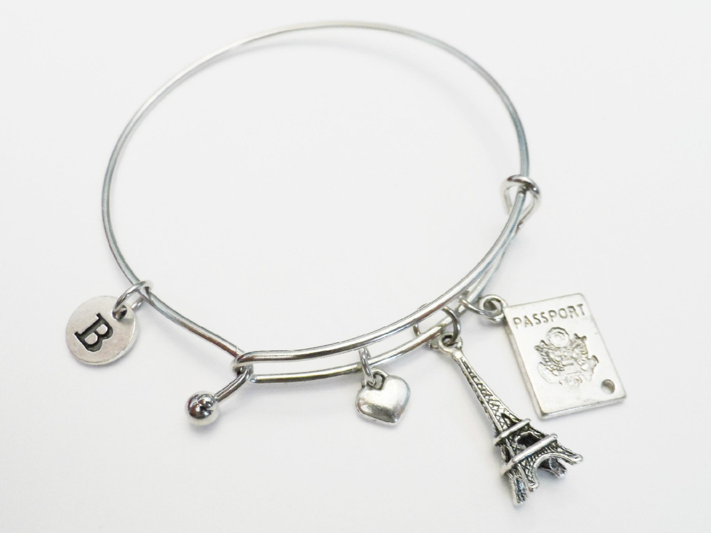 eiffel tower charm bracelet charm bangle wire bangle