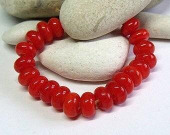 Deep Orange, Lampwork Spacer Beads, SRA, UK