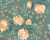 Organic Acorn Trail Collection - Peonies Blue CANVAS