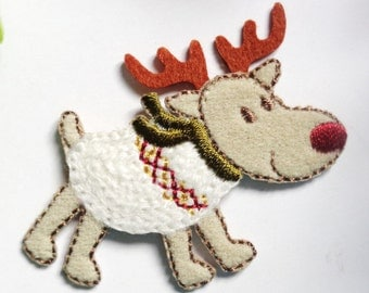 Iron On Patch Applique - Reindeer with Sweater