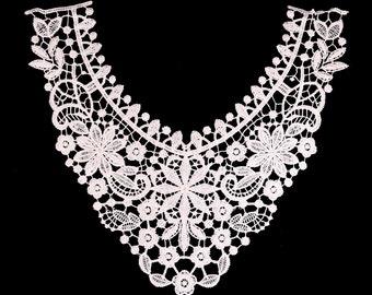 white  Embroidery Venise flower lace neckline 1 pc
