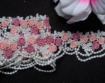 1 3/8 inch wide  Embroidered Lace Trim Venise Lace Trim color as pictured price for 1 yard