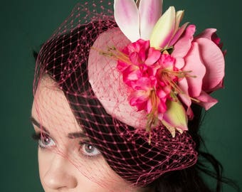 Fascinator Hat Pink Floral Pink Veil Vintage Style Bridal Wedding
