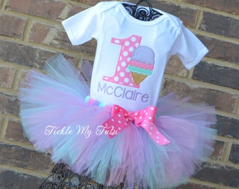 Ice Cream Party Birthday Tutu Outfit-Ice Cream Birthday Party Tutu Set-First Birthday Ice Cream Party Outfit