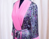 EMERGENCY SALE 1940s Dressing Gown // Paisley Print with Color Block Fuchsia Robe Dress