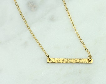 Skinny Hammered Gold Bar Necklace | Dainty Delicate Necklace | 14k gold filled