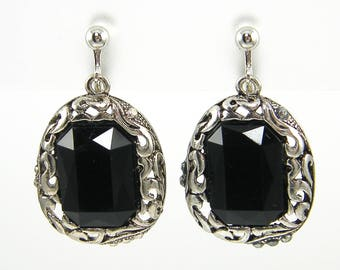 Black Silver Clip on Earrings, Ornate Filigree Clip Earrings, Antique Silver Black Dangle Screw Back Earrings |EC2-28