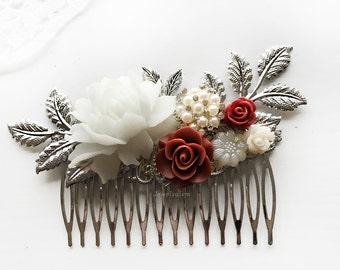 Burgundy Wedding Hair Comb Marsala Wine Red Bridal Hair Comb Silver Hair Slide Rhinestone Crystal Pearl Leaves Bridesmaid Gift Hair Clip