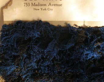 Antique French Silk Fringe from Old Arts, Madison Ave., NYC, Deep Blue & Black 1-1/2 in. wide 6 Yards
