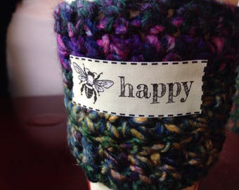 Coffee Cozy with Quote of Your Choice Crochet Rainbow Multicolored Teal Purple Yellow