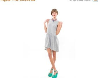 50% OFF, Grey Womens Fashion Dress,Sleeveless Dress, Full Skirt and Relaxed Silhouette, Everyday  Dress
