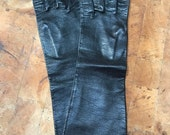 Vintage Elbow Length Gloves, Brown Leather, Italy