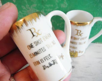 Vintage RX shot glasses mini mugs gold leaf and white Folly Beach sc souvenir bar humor collectible