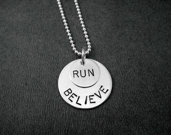BELIEVE in your RUN Sterling Silver Necklace - Choose 16, 18 or 20 inch Sterling Silver Ball Chain - Running Jewelry - Believe in your Run