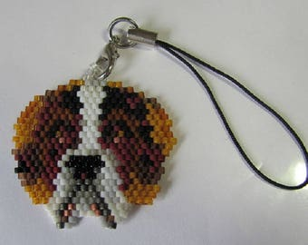 Hand Beaded St Bernard cell phone charm