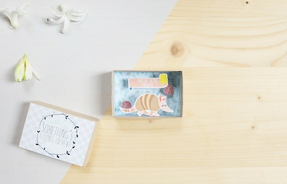Pipi de tatou message box / Miniature Art / Diorama / 3d Art / Decorative Matchbox / Miniature paper diorama / Love