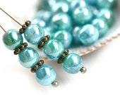 6mm Blue Lagoon mixed round beads, Blue Teal Lustered Czech glass beads, round spacers, druk - 30Pc - 2783