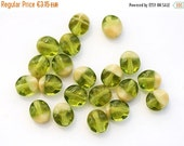 30%OFF SALE Olive green beads, Olivine glass beads, Oval Czech beads, wavy beads, 9x8mm - 20Pc - 0294