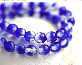 ON SALE Crystal Blue czech glass beads, round spacers, druk - 4mm -  approx.85-90Pc - 0139