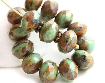 6x9mm Rustic Turquoise Green and Brown Czech glass rondelle beads, Picasso finish beads, Boho, donut, rondel, gemstone cut - 12Pc - 0074