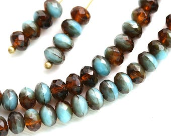 3x5mm Mixed Blue and Brown Topaz czech glass beads, rondels, blue rondelle gemstone cut spacers - 40Pc - 2533
