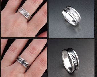 Couple's Matching Promise Rings Set with Elegant Pattern in Eco Friendly Silver, His & Her Wedding Bands - 4mm, 6mm, 8mm