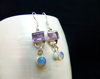 Amethyst & Ethiopian Opal Silver Handmade Earrings