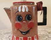 Gingerbread Red White Coffee Pot. Ginger Kitchen.Country Home. Gingerbread Decor.Housewarming  Gift. Country Kitchen.Gingerbread Lover. Home