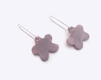 Mini Flora Earrings -  Bright Ceramic Dangling Earrings with Sterling Silver Earwire