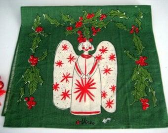 Vintage Vera Christmas Tea Towel Green Linen, Angel, Holly Berries, Signed, Ladybug NOS