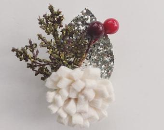 Holiday Felt Flower Brooch - Felt Flower Pin - Boutonniere