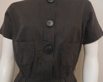 Vintage Helen Whiting 1960's Brown, Green and Black Stripe Day Dress