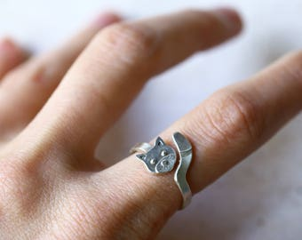 Silver cat ring, cat lover gift, adjustable ring, animal ring, cat jewelry, sterling silver cat, cat wrap ring, cat head and tail
