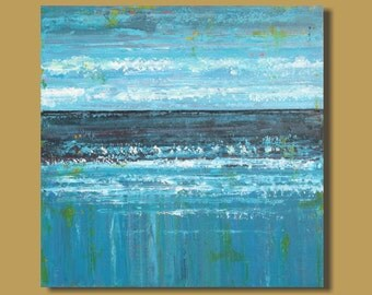 FREE SHIP large abstract painting, turquoise teal blue, abstract ocean painting, landscape, canvas art wall art, modern art, 30x30, original