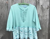 Reserved...XXL mint green embelished top blouse Upcycled clothing
