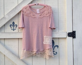 Pink tunic L, knit lace tunic, Victorian blouse romantic top by Shaby Vintage