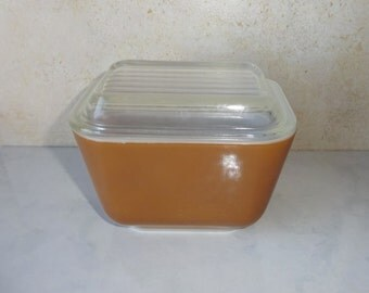 Vintage Brown Pyrex Refrigerator Dish Container Small Rectangular