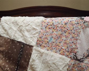 Deer Baby Girl Blanket - Fawn, Flowers, Deer Skin Minky, Blush Minky, and Ivory Crushed Minky Patchwork Blanket
