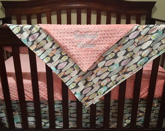 Custom Listing- Feathers and blush crib bedding