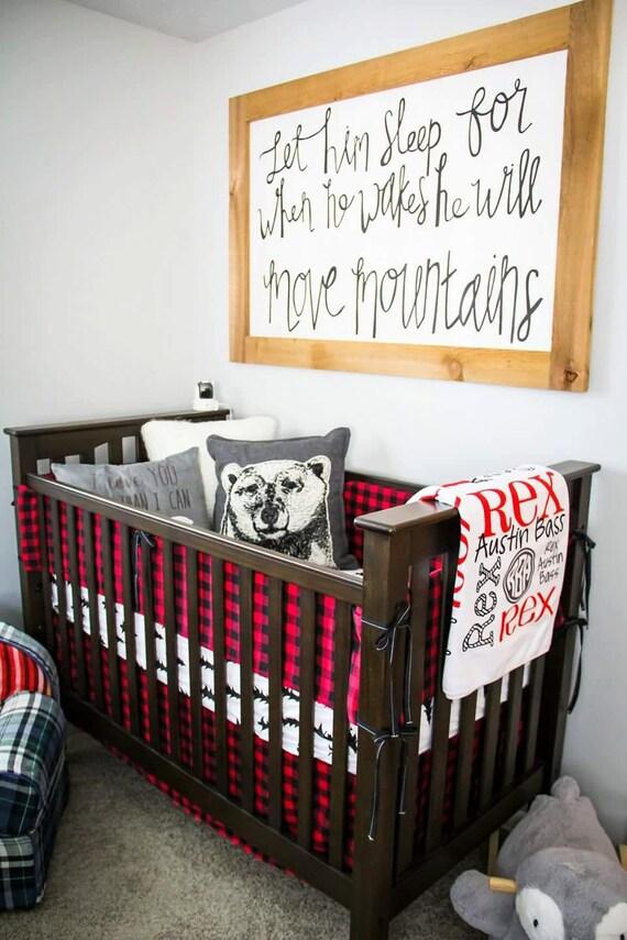 Red Buffalo Check Crib Bumper Lodge Woodland